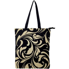 Black Adn Gold Leaves Double Zip Up Tote Bag