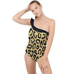 Ghepard Gold Frilly One Shoulder Swimsuit