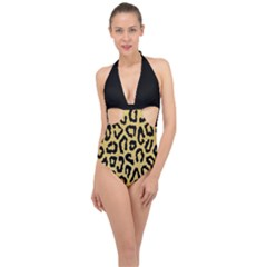 Ghepard Gold Halter Front Plunge Swimsuit
