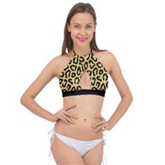 Ghepard Gold Cross Front Halter Bikini Top by AngelsForMe