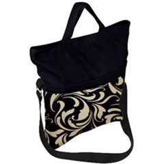 Black Adn Gold Leaves Fold Over Handle Tote Bag