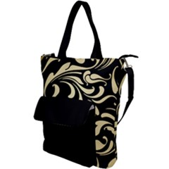 Black Adn Gold Leaves Shoulder Tote Bag