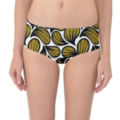 Gold Leaves Mid-waist Bikini Bottoms