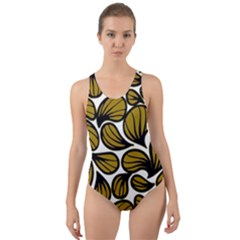 Gold Leaves Cut-out Back One Piece Swimsuit