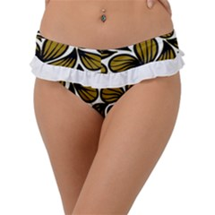 Gold Leaves Frill Bikini Bottom