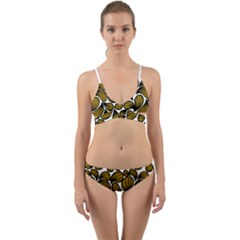 Gold Leaves Wrap Around Bikini Set