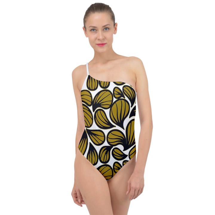 GOLD LEAVES Classic One Shoulder Swimsuit