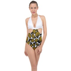 Gold Leaves Halter Front Plunge Swimsuit