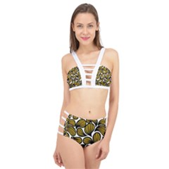 Gold Leaves Cage Up Bikini Set
