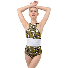 Gold Leaves Cross Front Low Back Swimsuit