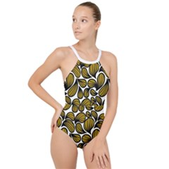 Gold Leaves High Neck One Piece Swimsuit