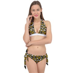 Gold Leaves Tie It Up Bikini Set