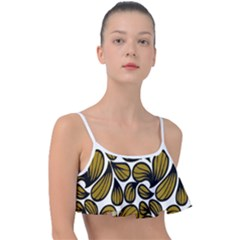 Gold Leaves Frill Bikini Top