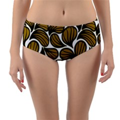 Gold Leaves Reversible Mid-waist Bikini Bottoms