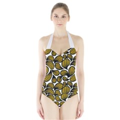 Gold Leaves Halter Swimsuit