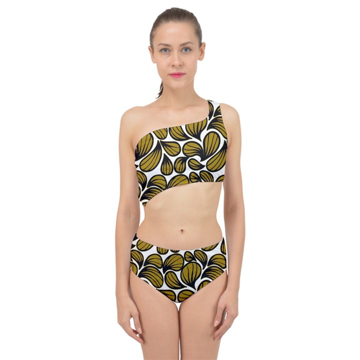 GOLD LEAVES Spliced Up Two Piece Swimsuit
