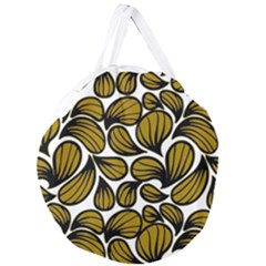 Gold Leaves Giant Round Zipper Tote