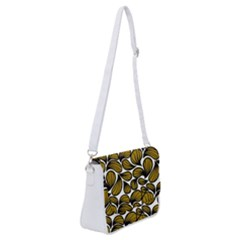 Gold Leaves Shoulder Bag With Back Zipper