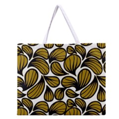 Gold Leaves Zipper Large Tote Bag
