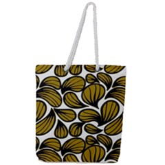 Gold Leaves Full Print Rope Handle Tote (large)