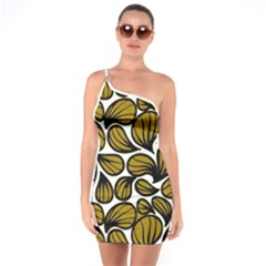 Gold Leaves One Soulder Bodycon Dress