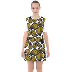 Gold Leaves Sixties Short Sleeve Mini Dress