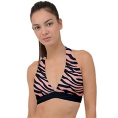 Tiger Rose Gold Halter Plunge Bikini Top