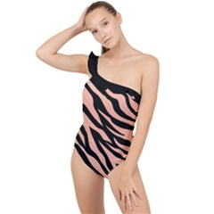 Tiger Rose Gold Frilly One Shoulder Swimsuit