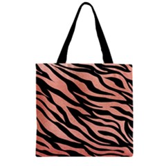Tiger Rose Gold Zipper Grocery Tote Bag