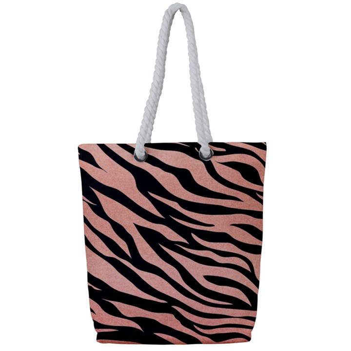 TIGER ROSE GOLD Full Print Rope Handle Tote (Small)