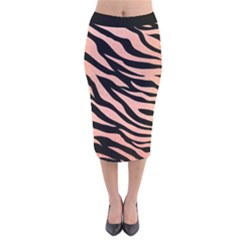 Tiger Rose Gold Velvet Midi Pencil Skirt