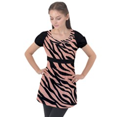 Tiger Rose Gold Puff Sleeve Tunic Top