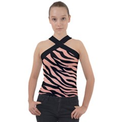 Tiger Rose Gold Cross Neck Velour Top