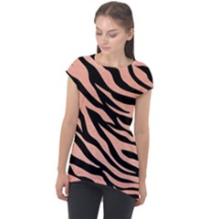 Tiger Rose Gold Cap Sleeve High Low Top