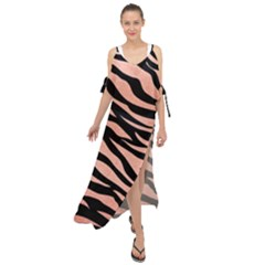 Tiger Rose Gold Maxi Chiffon Cover Up Dress by AngelsForMe