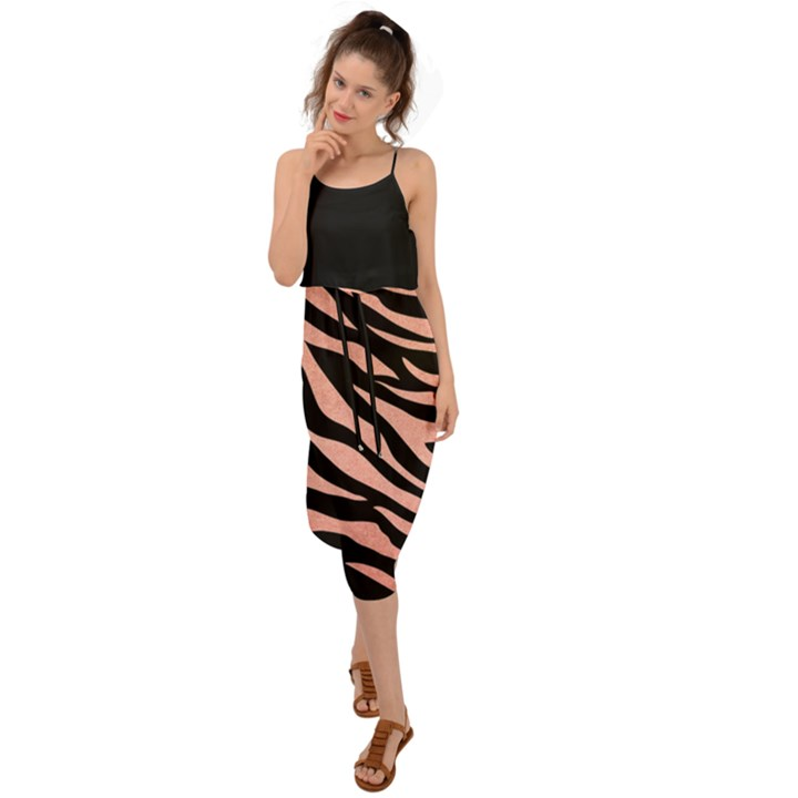 TIGER ROSE GOLD Waist Tie Cover Up Chiffon Dress
