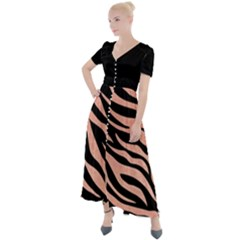 Tiger Rose Gold Button Up Short Sleeve Maxi Dress