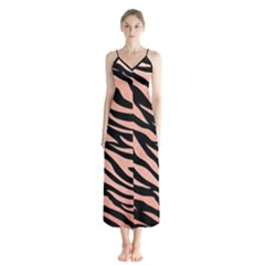 Tiger Rose Gold Button Up Chiffon Maxi Dress