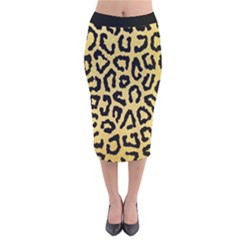 Ghepard Gold Velvet Midi Pencil Skirt