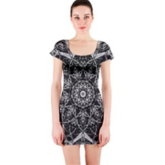 Black And White Pattern Short Sleeve Bodycon Dress