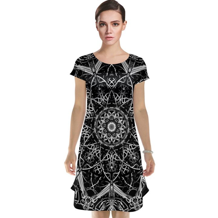 Black And White Pattern Cap Sleeve Nightdress