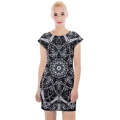 Black And White Pattern Cap Sleeve Bodycon Dress