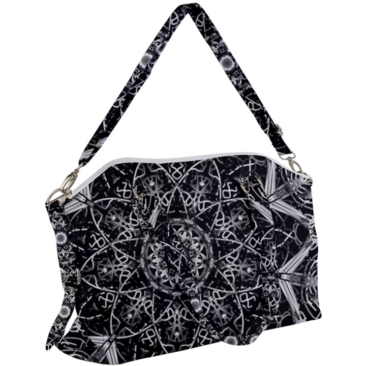 Black And White Pattern Canvas Crossbody Bag