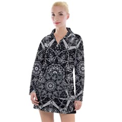 Black And White Pattern Women s Long Sleeve Casual Dress