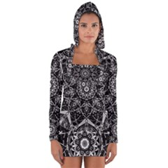 Black And White Pattern Long Sleeve Hooded T-shirt by Sobalvarro