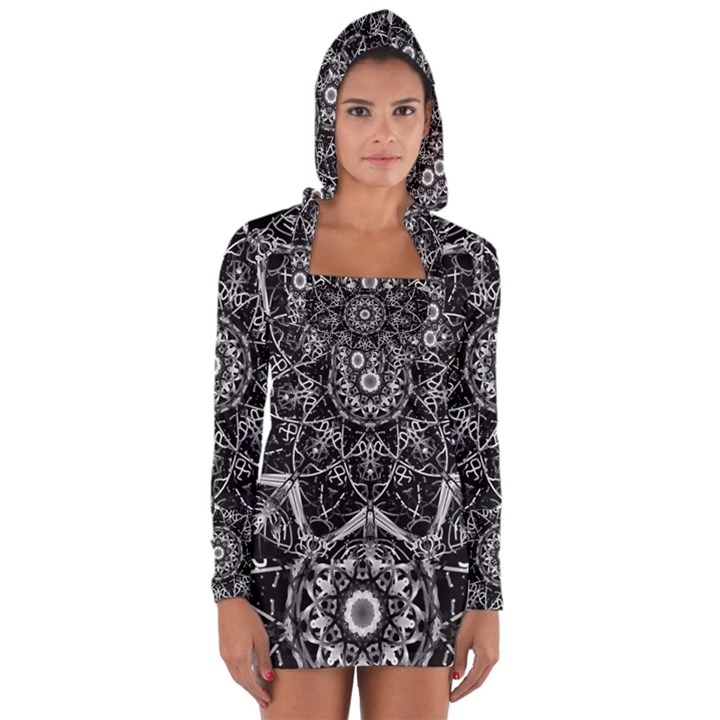 Black And White Pattern Long Sleeve Hooded T-shirt