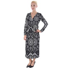 Black And White Pattern Velvet Maxi Wrap Dress
