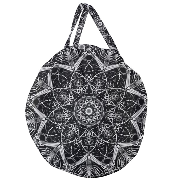 Black And White Pattern Giant Round Zipper Tote