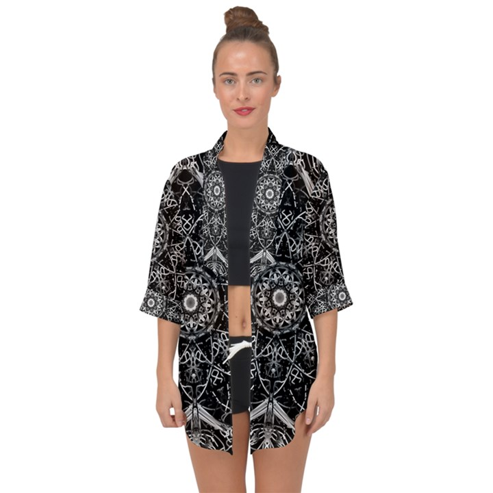 Black And White Pattern Open Front Chiffon Kimono