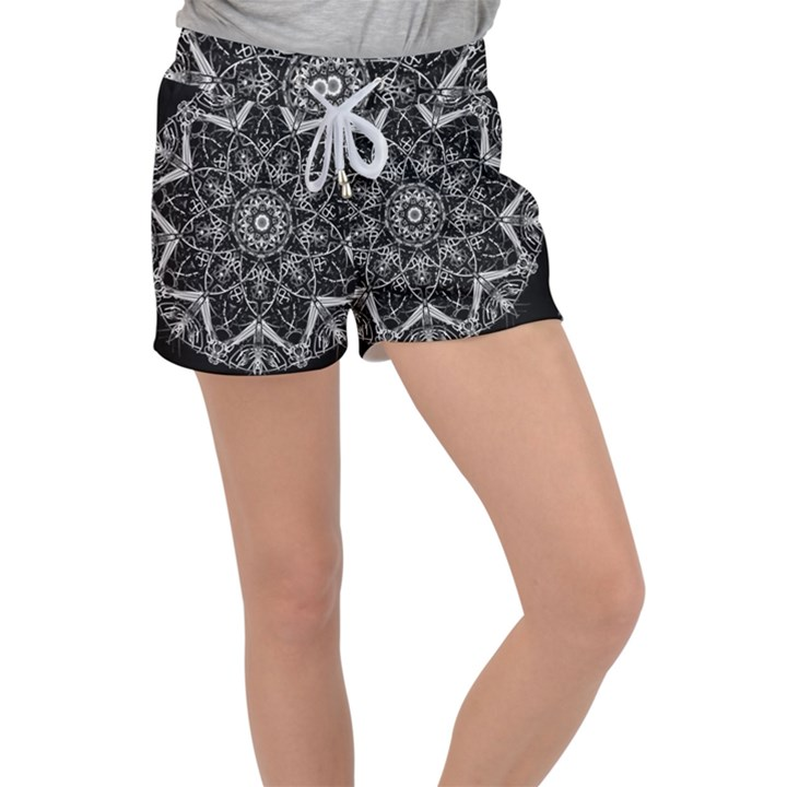 Black And White Pattern Velour Lounge Shorts